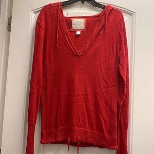 American Eagle women's Red cardigan w/ hood size L